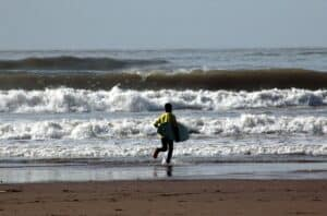 Surfing at Bantham Beach